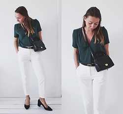 Magna G. -  - Emerald green top & white trousers