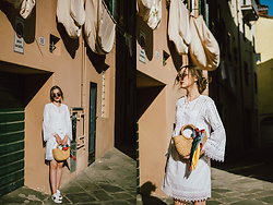 Andreea Birsan - White Cutout Mini Dress, Basket Bag, Gucci Ace Heart Embroidered Sneakers, Round Sunglasses, Silk Scarf - White dress