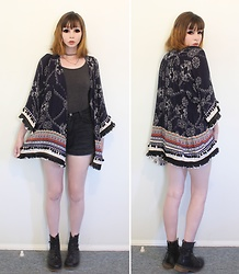 Rachel-Marie - Rowme Tribal Print Fringe Pom Pom Decorated Kimono, Romwe Black Denim Shorts, Unbranded Black Lace Up Ankle Martin Boots - Dark Summer