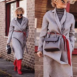 Renia - Hieleven Bag, Rejina Pyo Coat, Zara Shoes - Grey and Red