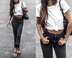 Kristina - Theory White Knotted T Shirt, Von Holzhausen Knotted Leather Bag, Rachel Comey High Waist Distressed Jeans, Helmut Lang Minimalist Sandals - Believe in basics
