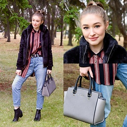 Taylor Doucette - Forever 21 Faux Fur Bomber, Citizens Of Humanity Liya Boyfriend Jeans, Topshop Western Buckle Belt, Sam Edelman Black Leather Booties, Michael Kors Colorblock Selma Purse, Topshop Striped Longline Top - My Side- Tom Speight