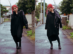 Lovely Blasphemy - Unif Cropped Moto Jacket, Jeffrey Campbell Shoes Stormy Rain Boots - Ninja