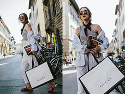 Andreea Birsan - White Distressed Denim Jacket, Striped One Shoulder Top, Plum Silk Top, High Waisted White Trousers, Striped Eyelet Leather Shoulder Bag, Hot Pink Fur Mules, Round Sunglasses, Gucci - All white