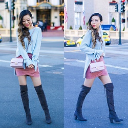 Sasa Zoe - Less Than $50 Bow Top, Less Than $50 Skirt, Earrings, Boots, Bag - FALL PASTELS