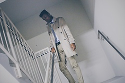 Dominic Humphrey - Zara Trench Coat, Zara Khakis, Calvin Klein Belt, Massimo Dutti Blue Button Down Shirt - Neutral