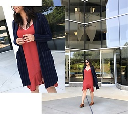 Melissa De Leon - Anthropologie Pinstripe Blazer, Anthropologie Slip Dress, Zara Brown Mule - Slip Dress & Blazer