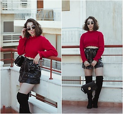 Theoni Argyropoulou - Cropped Knit, H&M Buckled Belt, Pull & Bear Patent Skirt, Mango Bag, Stradivarius Knee High Boots, Sunnies - Pop of Red on somethingvogue.com