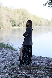 Marina Abramovic - Shein Dress, Zara Blazer, Mango Boots - On the lake