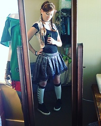 Adelaide B - Vans Black Fringed Hi Top, Adelaidexrawks Brocade Hi Low, Hot Topic Over The Knee Socks, Adelaidexrawks Denim Vest - Saturday Look