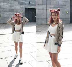Vlada Kozachyshche - Pull & Bear Jacket, Topshop Top, Pull & Bear Necklace, Bershka Skirt, Adidas Sneakers - Minimal + Gold