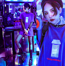 Louis Liao - Badge Ares Co. Drug Addition Tee, Unholy Lab Leather Choker, Oribagu Backpack, Unholy Lab Cultagram Socks, Unholy Lab X Queencity Creepers - Drug Addition