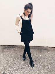 Emma M. - Archive By Alexa Shirt, Corderoy Pinafore Dress, Vinyl Boots, Zara Earrings - October 15th