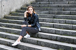 Aiste Mondayjazz - Zara Leather Jacket, Zara Pants, Converse Sneakers - OOTD: printed trousers & white converse shoes