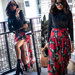 Monica Awe-Etuk -  - AWED BY MONICA:  FLORAL HIGH-LOW MIDI SKIRT AND BLACK RUFFLE
