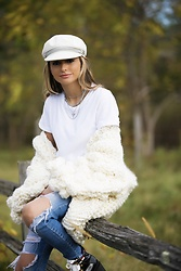 Lauren Recchia - Brixton Cap, Splendid White Tee, Mumshandmade Cardigan, Joes Jeans, Gucci Boots - In Knit To Win It