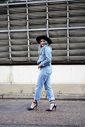 Sandy Joe Karpetz - Pulp Riot Blue Hair Dye, Tom Ford Orange Lipstick, Halston Black Felt Hat, Levi's® Jean Jacket, Levi's® Vintage Boyfriend Jeans, Alexander Wang Lovisa Black Heels - The blues are still blue