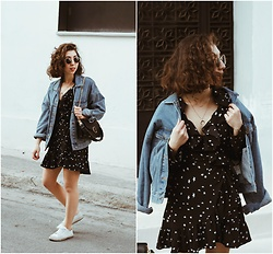 Theoni Argyropoulou - Pull & Bear Denim Jacket, Zaful Wrap Dress, Mango Bag, H&M Sneakers, Sunnies, Necklace - Ruffle Wrap Dress on somethingvogue.com