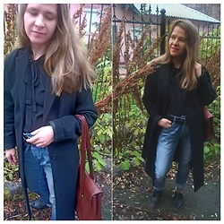 Alla Dolzhenko - Mint&Berry Black Coat, Lamania Black Blouse With ?, Tony Perroty Leather Brown Bag, Boyfriend Jeans, Leather Belt, Lost Ink Flats - ?