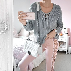 Tia Mcintosh - Puma Pink Laceup Leggings, Romwe Grey Lace Up Sweater, Chanel White Quilted Boy Bag - Laceup babe