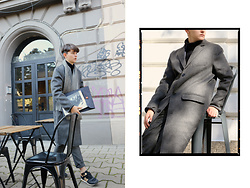 Hristo Yordanov - H&M Grey Cahmare Coat, New Balance Balnce Sneakers, H&M Grey Scarf, H&M Grey Pants - Re-invent grey for fall