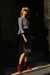 Ana Vukosavljevic - Metisu Blouse, Zaful Bag, Ego Ankle Boots, Romwe Skirt - Statement Shoes