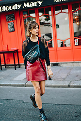 Laugh of Artist - Gucci Bag, New Look Skirt Vinyl, Minelli Boots, The Kooples Sweat - Gucci & Coco capitan