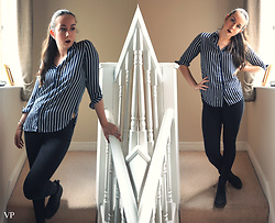 Victoria P - H&M Jeans, H&M Striped Shirt, Blackstone Boots - Everyday Working Girl