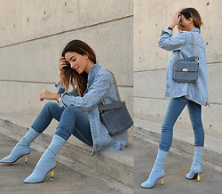 Christina Foka - Valentino Bag, Vetements Sock Boots - The light blue outfit <3