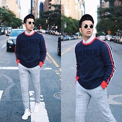 Franko Dean - Tommy Hilfiger Sweatshirt, Zara Plaid Trousers, Adidas White Sneakers, Ray Ban Round Sunglasses - #TOMMYNOW