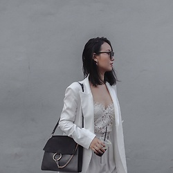 WMwatchme - Zara Lace Top, Chloé Faye Bag, Zara White Blazer - All white outfit