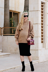 Meagan Brandon - Sweater (Under $70!), Maternity Skirt (Under $25!), Sock Boots - Camel Sweater & Pencil Skirt