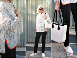 Reni E. - Obag White Bag, Kennel&Schmenger White Flats, Bimba Y Lola White Blouse With Color Accents - Faces black and white and a little color