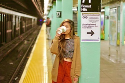 Angelica Ramirez - H&M Fall Elbow (Leather) Patched Sweater, Urban Outfitters Cropped Top Tee, Forever 21 Vintage Basic Flair Pants - Back to sweater and coffee weather