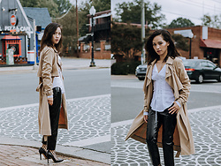 Susan Hang - Mango Trench, Wayf Corset Top, Zara Vinyl Trousers - Going Off the Edge