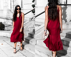 Kristina - Grana Red Silk Dress - Red