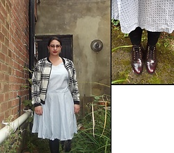 Selina - Select Checked Jacket, Self Made Polka Dot Dress, Dune Burgundy Boots - Come fly with me