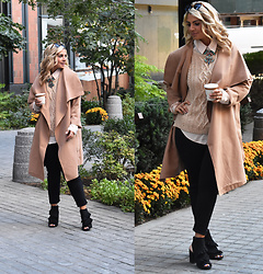 Jaclynn Brennan - Gap Cable Knit Sweater, Michael Kors Pants, Boohoo Jourdan Wool Look Wrap Front Coat, Mari A Ruffle Booties - Camel