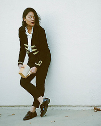 Melissa T. - Nasty Gal Bandcamp Cropped Jacket, Sister Jane White Ruffle Blouse, Restricted Shoes Teddy Oxfords - Kickin' it Old School