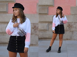 Claudia Villanueva - H&M Cap, Zaful Sweatshirt, Lefties Fanny Pack, Topshop Skirt, Local Store Boots - Pink Fur Panels