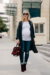 Meagan Brandon - Oversized Cardigan (Similar), Maternity Tee, Paige Maternity Jeans, Brahmin Gabriella Satchel, Burgundy Boots (Similar) - Easy Fall Maternity Outfit