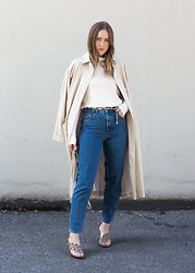 Jenaly Enns - Wilfred Oversized Trench Coat, H&M Thin Turtleneck, Wilfred Free Straight Neck Camisole, Zara Mom Jeans, Gucci Vintage Monogram Shoes, Clare Vivier Netty Bag - Ready for Fall