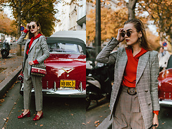 Andreea Birsan - Double Breasted Check Printed Blazer, Red Hoodie, Check Printed High Waisted Trousers, Statement Bag, Sunglasse, Gucci Red Marmont Pumps, Round Sunglasses - Check printed blazer