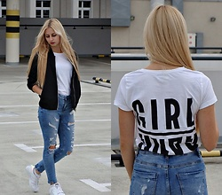 Monika - Reserved White T Shirt, Stradivarius Black Bomber Jacket, Adidas White Sneakers - GIRL