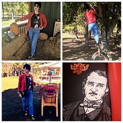 Tia - Antique Store Rust Colored Vintage Jacket, Levis, Thrifted 90s Mom Jeans, Poe Museum In Richmond, Va Edgar Allen T Shirt, Antique Store Vintage Rose Pendant, Antique Store 1940s Velvet Hat, Thrifted Vans, Thrifted Plastic Bangles - Dear October...I love you.
