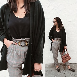 Tiffany Wang - Cos Cardigan, Mango Pants, Gucci Loafers, Jw Anderson Bag, Le Specs Sunglasses - FOREST GREEN