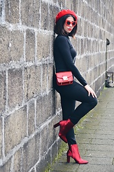 Cassey Cakes - Mango Boots, H&M Skinny Jeans, H&M Top - Red Satin