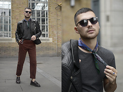 Gerard Molón - Ace&Tate Sunnies, Jane Carr Bandana Neckerchief, Topman Biker Jacket, Prada Keyring, Zara Trousers, Dr. Martens Mocassins - ALL THE ACCESSORIES