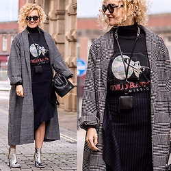 Renia - Dorothy Perkins Coat, Zara Bag, Jil Sander Sunglasses - Check and Pinstripes
