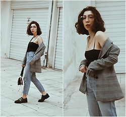 Theoni Argyropoulou - Bershka Check Blazer, Zaful Spaghetti Strap Bodysuit, H&M Glasses, Levi's® Mom Fit Vintage Jeans, Mango Bag, Shoes - Styling the Check Blazer for Fall '17 on somethingvogue.com